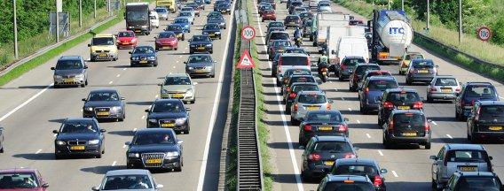 Traffic hold-ups on motorway
