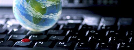 mini globe on keyboard