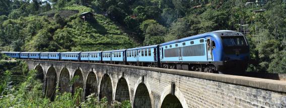 Train in the mountains in Sri Lanka