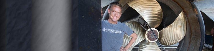 Businessman Sebastiaan van der Meer on his barge