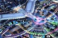 Artist impression (vanuit de lucht gezien) van de expo 2020 in Dubai